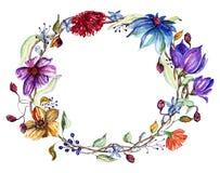 Guirnalda de las flores de la acuarela Foto de archivo