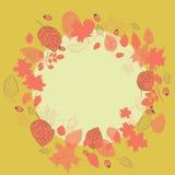 Guirnalda de las hojas de otoño con los escaramujos Ejemplo del vector en fondo amarillo Fotos de archivo libres de regalías