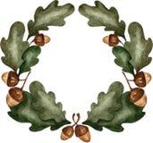 Guirnalda de las hojas del roble de la acuarela en el fondo blanco Imagen de archivo