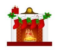 Guirnalda de las medias de las decoraciones de la Navidad de la chimenea stock de ilustración