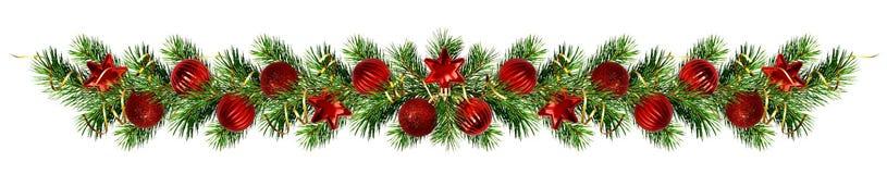 Guirnalda de las ramitas y de las decoraciones del árbol de pino de la Navidad Imagen de archivo