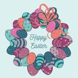 Guirnalda de los huevos de Pascua con el arco anaranjado Ejemplo del vector en fondo azul claro Pascua feliz en el medio del círc Foto de archivo libre de regalías