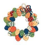 Guirnalda de los huevos de Pascua con el arco Ilustración del vector en el fondo blanco Fotografía de archivo libre de regalías