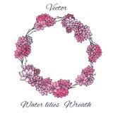 Guirnalda de los lirios de agua rosados y de las ramas de árbol aislados en el fondo blanco Usables como invitación floral de la  Foto de archivo