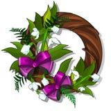 Guirnalda de madera de snowdrops y de hojas del verde adornadas con la corbata de lazo rosada Fotografía de archivo libre de regalías