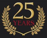 Guirnalda de oro del laurel 25 años Foto de archivo libre de regalías