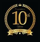 Guirnalda de oro del laurel del aniversario 10 años Imágenes de archivo libres de regalías