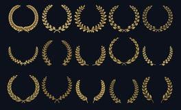 Guirnalda de oro del laurel La corona realista, premio del ganador de las formas de hoja, la cresta foliada 3D simboliza Siluetas stock de ilustración