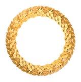 Guirnalda de oro redonda del laurel Imágenes de archivo libres de regalías