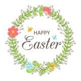 Guirnalda de Pascua con las flores, las mariposas, las hojas y frase - Pascua feliz aisló el ejemplo del vector Imagen de archivo