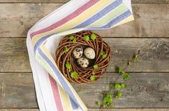 Guirnalda de Pascua con tres huevos de codornices Foto de archivo libre de regalías
