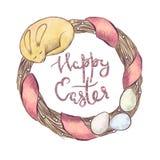 Guirnalda de Pascua de la acuarela Imagen de archivo libre de regalías