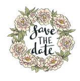 Guirnalda de peonías Vector Ilustraciones dibujadas mano Invitación de boda con las letras elegantes Imágenes de archivo libres de regalías