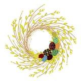 Guirnalda de ramas jovenes del sauce La composici?n se adorna con los huevos de Pascua hermosos El s?mbolo de la primavera y de P libre illustration