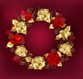 Guirnalda de rosas en fondo rojo Imagenes de archivo
