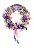 Guirnalda decorativa colorida de la acción de gracias para la puerta con las flores aisladas Imagen de archivo libre de regalías
