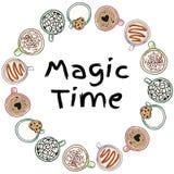 Guirnalda decorativa del tiempo mágico de las tazas de bebidas deliciosas Ornamento lindo de las bebidas de la crema del café y d libre illustration