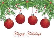 Guirnalda del árbol de navidad con la ilustración de los ornamentos stock de ilustración
