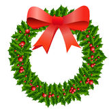 Guirnalda del acebo de la Navidad Fotos de archivo