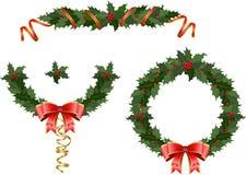Guirnalda del acebo de la Navidad Imagen de archivo libre de regalías