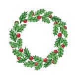 Guirnalda del acebo de la Navidad con las bayas aisladas en el fondo blanco Imagen de archivo libre de regalías
