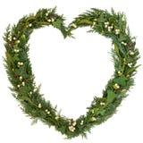 Guirnalda del corazón del muérdago Imagen de archivo libre de regalías
