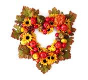 Guirnalda del corazón del otoño Fotografía de archivo