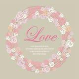 Guirnalda del dulce multicolor de las rosas para las tarjetas de la tarjeta del día de San Valentín Foto de archivo libre de regalías