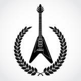 Guirnalda del laurel con la guitarra eléctrica Fotos de archivo libres de regalías