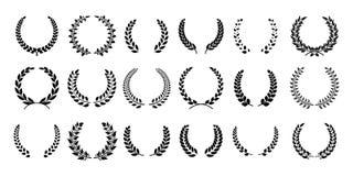 Guirnalda del laurel de la silueta La rama de olivo griega, emblemas del premio del campeón, sale de símbolos redondos de los pre stock de ilustración