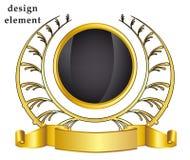 Guirnalda del laurel del oro en el fondo blanco Imagen de archivo libre de regalías