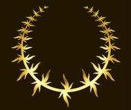Guirnalda del laurel del oro en fondo negro Fotos de archivo