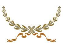 Guirnalda del marco de la Navidad con la cinta y arquear las hojas verdes ilustración del vector