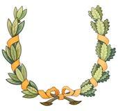 Guirnalda del marco de la Navidad con la cinta y arquear las hojas verdes stock de ilustración