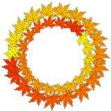 Guirnalda del otoño de la web Composici?n del oto?o Guirnalda hecha de las flores y de las hojas del otoño en el fondo blanco End libre illustration