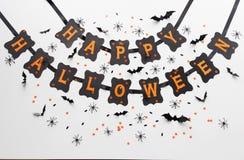 Guirnalda del papel del negro del partido del feliz Halloween Fotos de archivo