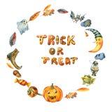 Guirnalda del partido de Halloween de la acuarela aislada en el fondo blanco ilustración del vector