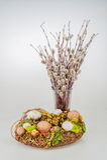 Guirnalda del sauce de gatito de los huevos de Pascua Foto de archivo