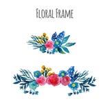 Guirnalda del vector de la acuarela Diseño floral del marco Imágenes de archivo libres de regalías