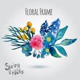 Guirnalda del vector de la acuarela Diseño floral del marco Fotografía de archivo