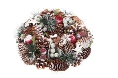 Guirnalda delicada de la Navidad de los conos del pino Fotografía de archivo