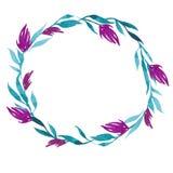 Guirnalda dibujada mano de la flor de la acuarela del vector en verde, turquesa y colores rosados Fotos de archivo libres de regalías