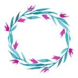 Guirnalda dibujada mano de la flor de la acuarela del vector en verde, turquesa y colores rosados Imagen de archivo libre de regalías