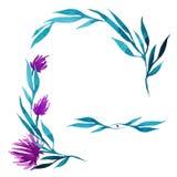 Guirnalda dibujada mano de la flor de la acuarela del vector en verde, turquesa y colores rosados Fotografía de archivo libre de regalías