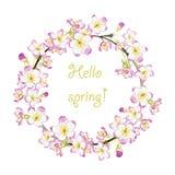 Guirnalda dibujada mano de la primavera de la acuarela Imagen de archivo