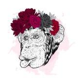 Guirnalda divertida de la flor del mono Ejemplo del vector para una tarjeta o un cartel Impresión en la ropa libre illustration