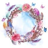 Guirnalda feliz de Pascua de la acuarela, ramo de la primavera ilustración del vector