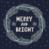 Guirnalda feliz y brillante de la Navidad con brunches del abeto stock de ilustración