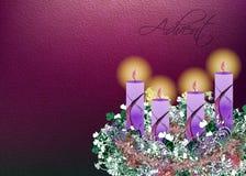 Guirnalda floral adornada del advenimiento con illustr de cuatro velas del advenimiento Imagen de archivo libre de regalías