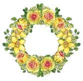 Guirnalda floral amarilla brillante con las rosas y las orquídeas Fotos de archivo